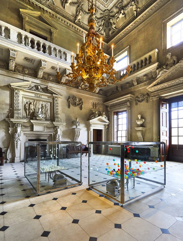 Damien Hirst, Space, Time, Form, Matter, Substance, Change and Motion and Observe, Identify, Reason, Analyse, Measure, Modify and Reproduce, in The Stone Hall at HOUGHTON HALL, NORFOLK ©Damien Hirst and Science Ltd. All Rights Reserved, DACS 2018 Photo by Pete Huggins FAD MAGAZINE