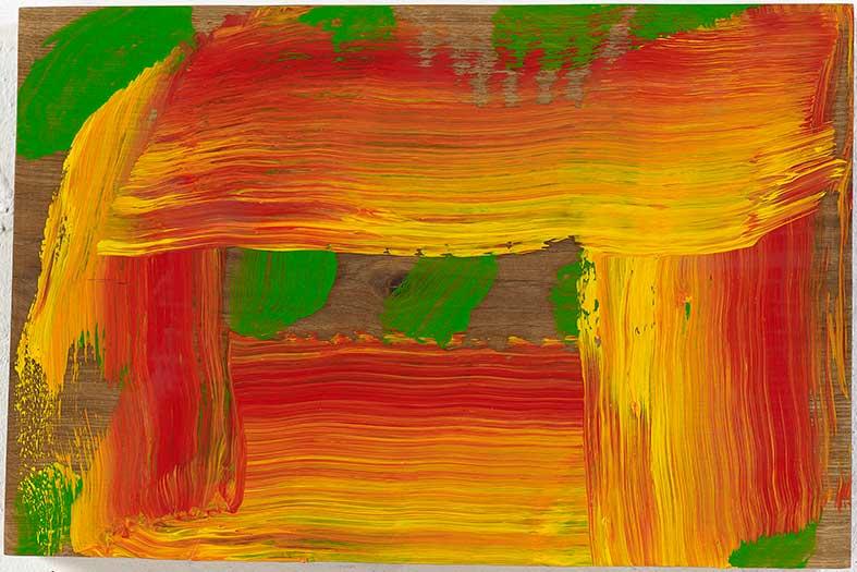 Howard Hodgkin, Through a Glass Darkly, 2015–16, oil on wood, 10 3/4 × 16 1/4 inches (27.3 × 41.3 cm) © Howard Hodgkin Estate.