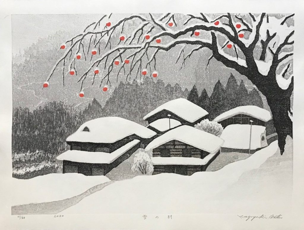 Kazuyuki Ohtsu Village in Snow 2020, woodblock print