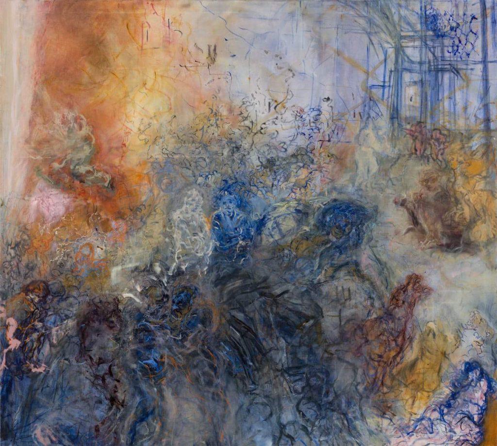 Hanne Jo Kemfor, Dante Triptych Central, oil on linen, 2017