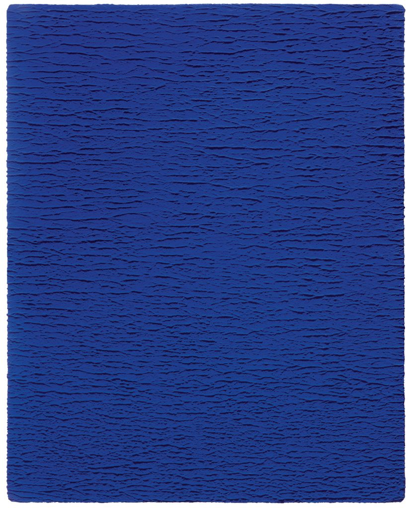 Untitled Blue Monochrome (IKB 67), 1959 Dry pigment and synthetic resin on gauze mounted on panel 92 x 73 cm © Yves Klein Estate, ADAGP, Paris / DACS, London, 2018