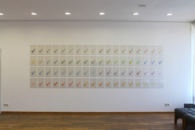 Kouichi Tabata Installation shot of 72 color (Rose), 2013 HD video and a set of 72 pieces of the original A4 drawings Installation dimension variable Courtesy of the artist and Gallery Koyanagi