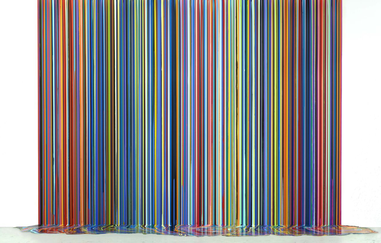 Ian Davenport Mirrored Place (after Bonnard) 2017 acrylic on aluminium mounted on aluminium (with floor piece) FAD magazine
