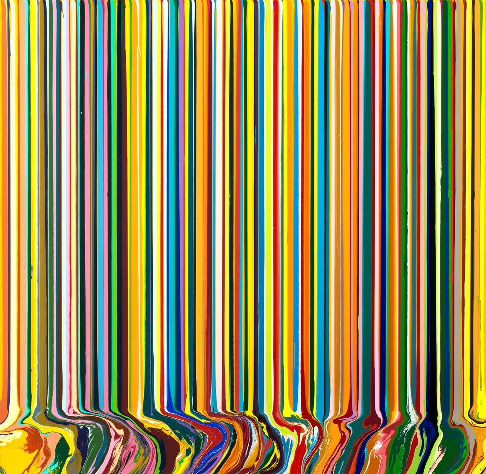 Ian Davenport Yellow Portrait 2017 acrylic on stainless steel mounted on aluminium FAD magazine