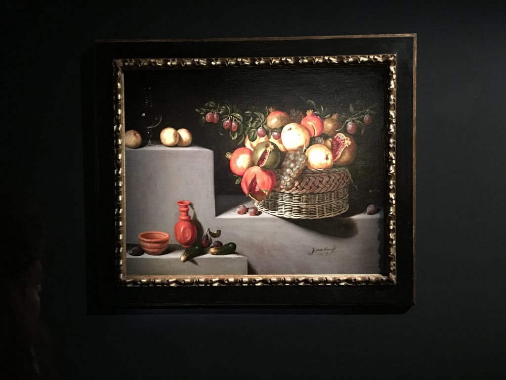 Still life with a basket and plates of fruit, 1629 Juan van der Hamn y Leon Colnaghi Gallery