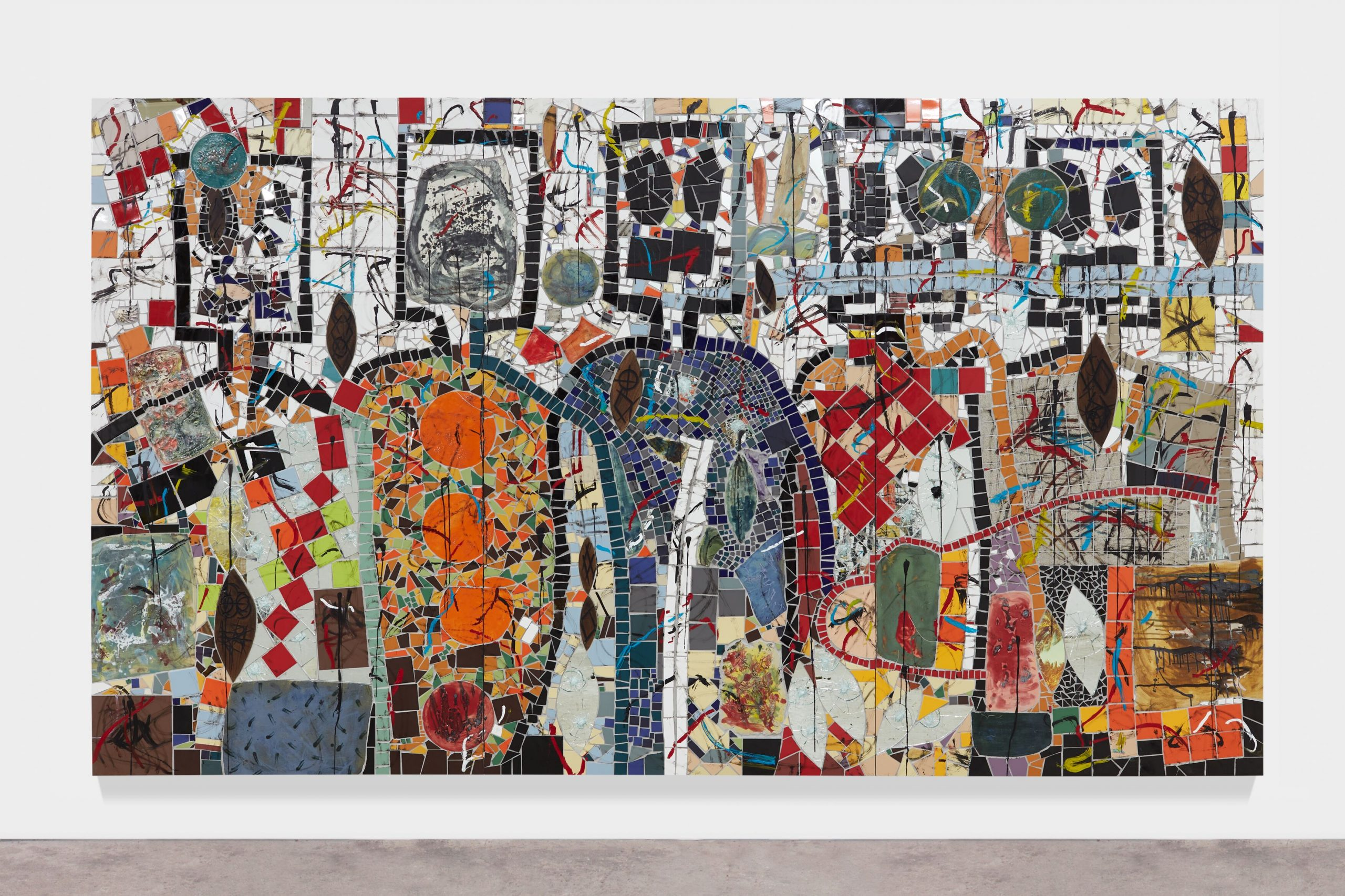 FAD magazine Rashid Johnson?The Broken Five?2020?Ceramic tile, mirror tile, spray enamel, oil stick, black soap, wax?250.2 x 430.5 cm Photo: Martin Parsekian