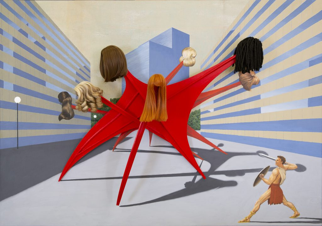 Jim Shaw One Percent for Art, 2020 Acrylic on muslin, wood, hardware and synthetic doll wigs 121.9 x 172.7 x 41.3 cm (48 x 68 x 16 1/4 in.)