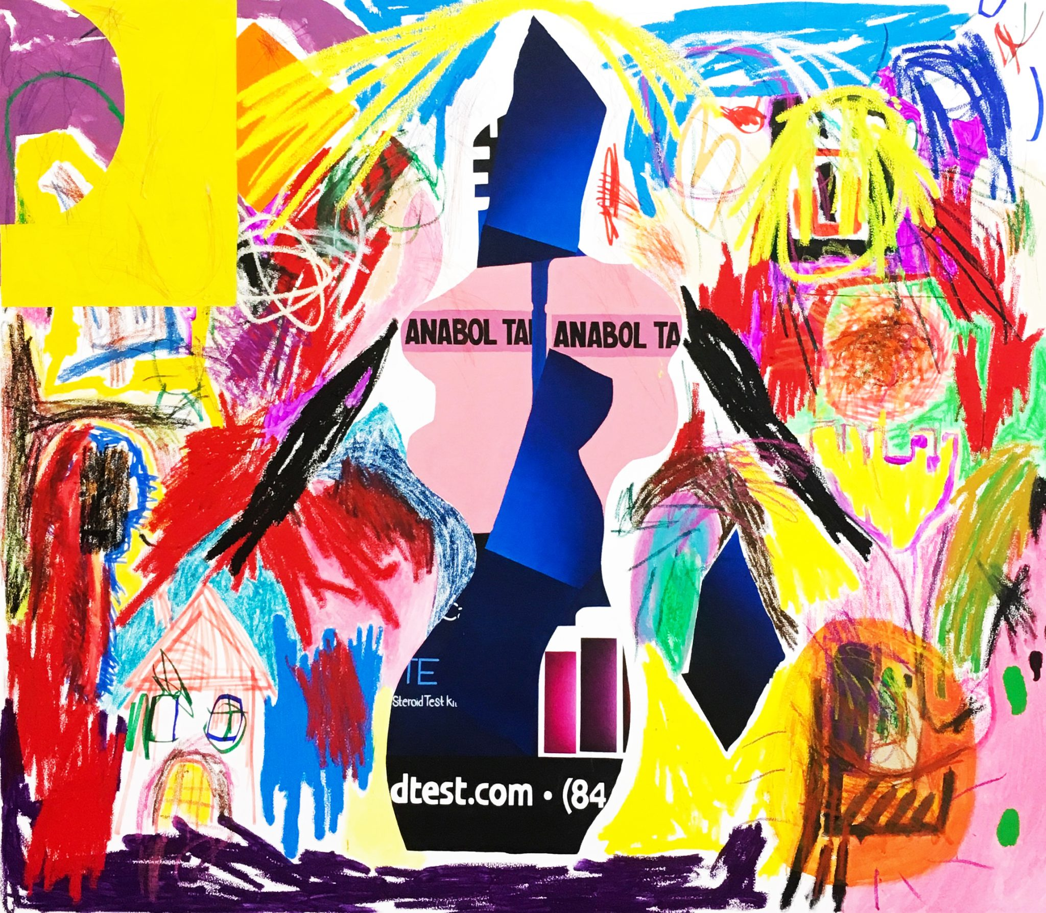 Jannis Varelas Anabole, 2017 oil, oilstick, acrylic, permanent marker, pastel, crayon, gesso on canvas 210 x 240 cm | 82 2/3 x 94 1/2 in