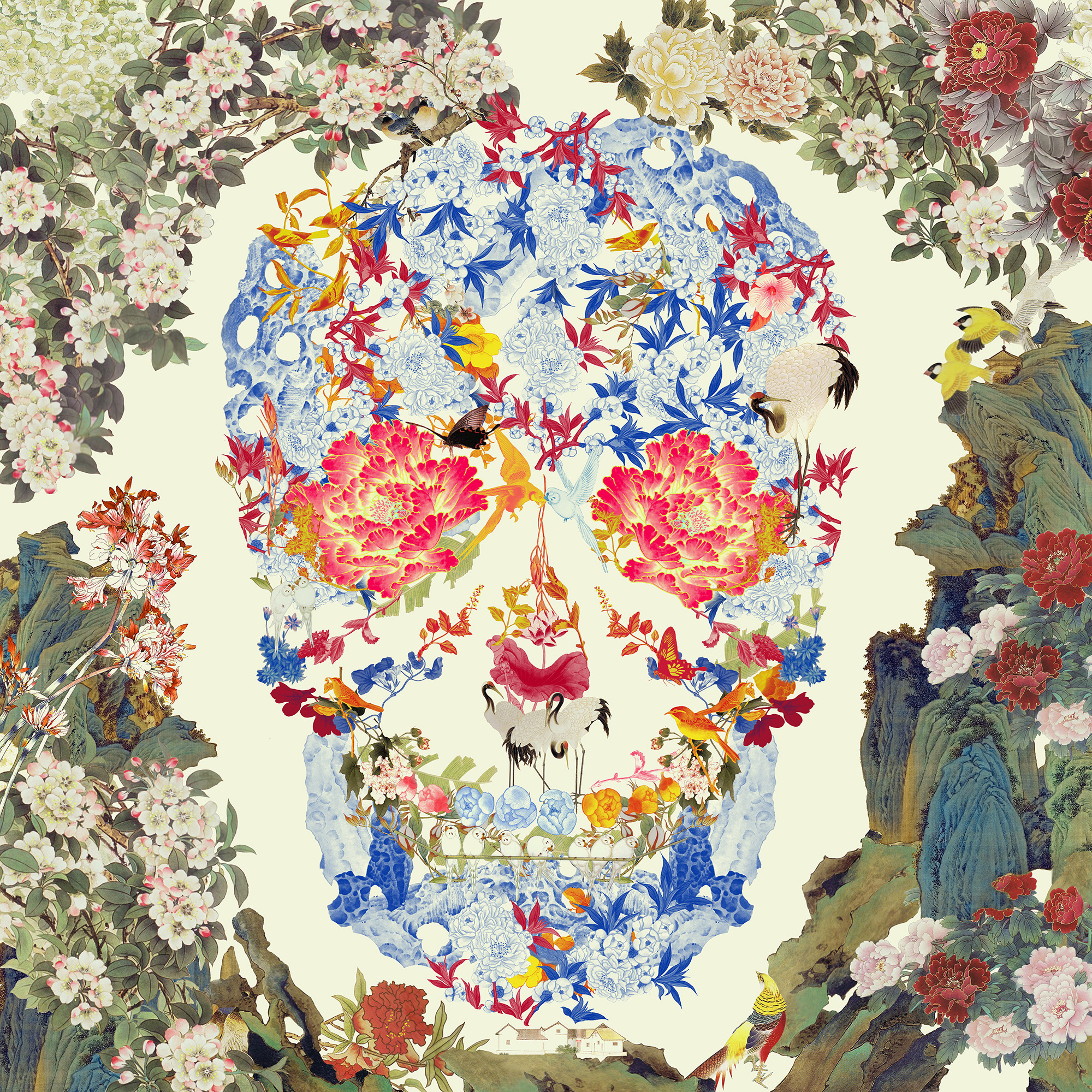 Jacky Tsai 'Chinese Floral Skull, Yellow Lenticular' (31.5 x 31.5 inches) FAD magazine