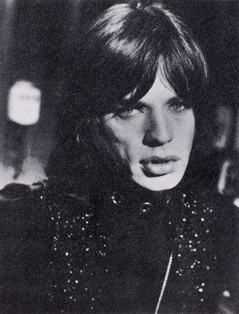 Jagger 1967, 2011_Hand-pulled acrylic paint and enamel screenprint on linen with diamond dust in Cream and Black_62_x47__Russell Young