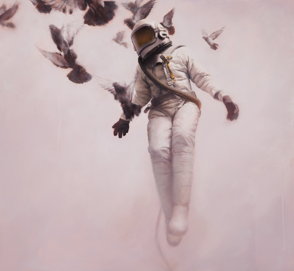 Jeremy Geddes, The White Cosmonaut, oil on board, 27 x 26 inches