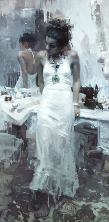 Jeremy Mann, Krasavitsa, 2015, oil on panel, 48 x 24 inches