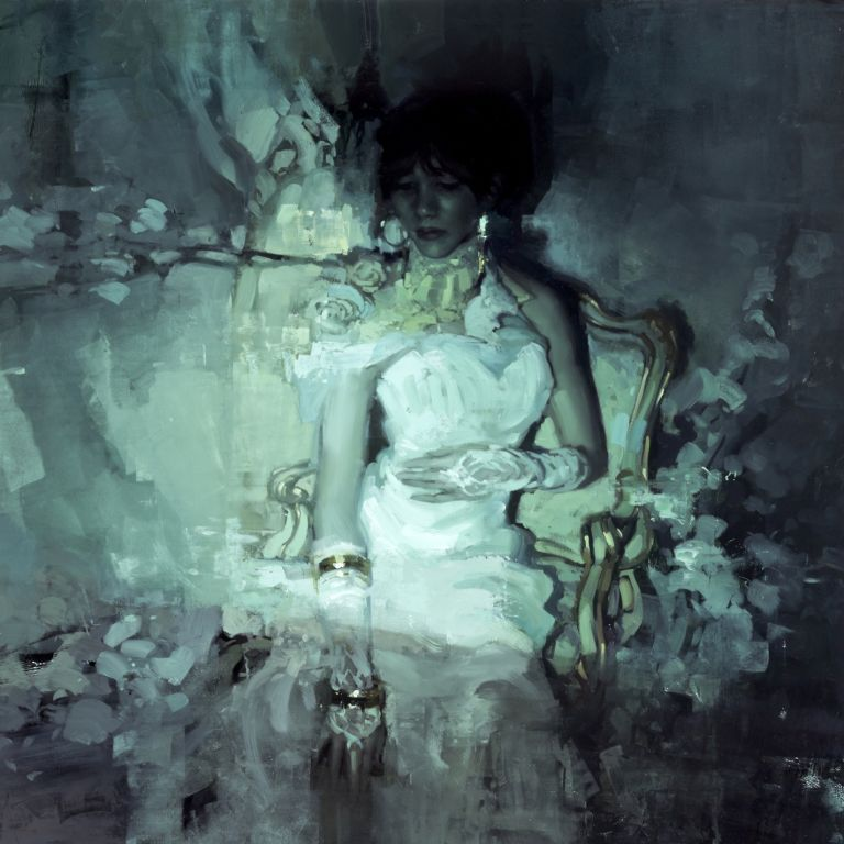 Jeremy Mann, La Bella Signora senza Pieta, 2015, oil on panel, 30 x 30 inches