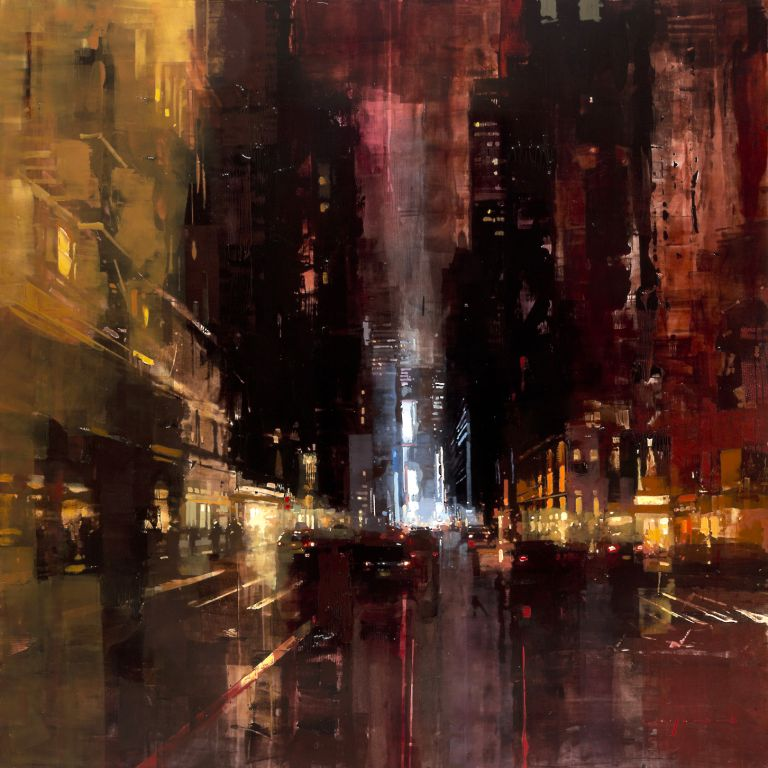 Jeremy Mann, NYC 15, 2015, oil on panel, 48 x 48 inches