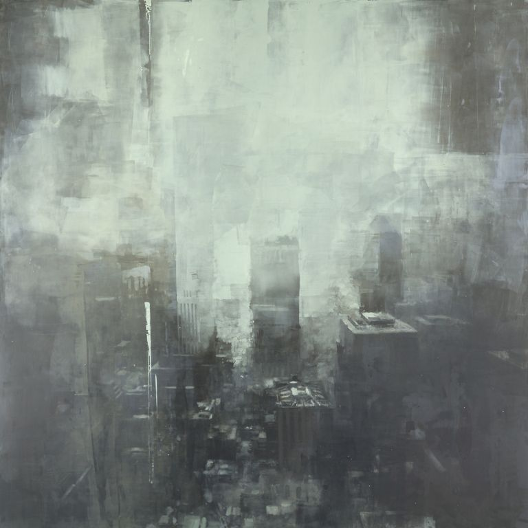 Jeremy Mann, Winter, New York, 2014, oil on panel, 36 x 36 inches