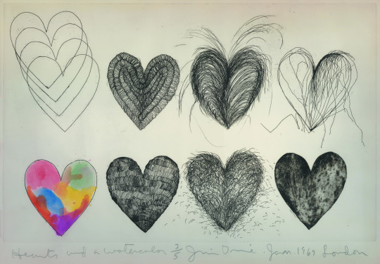 Jim Dine, Hearts and a watercolor, 1969