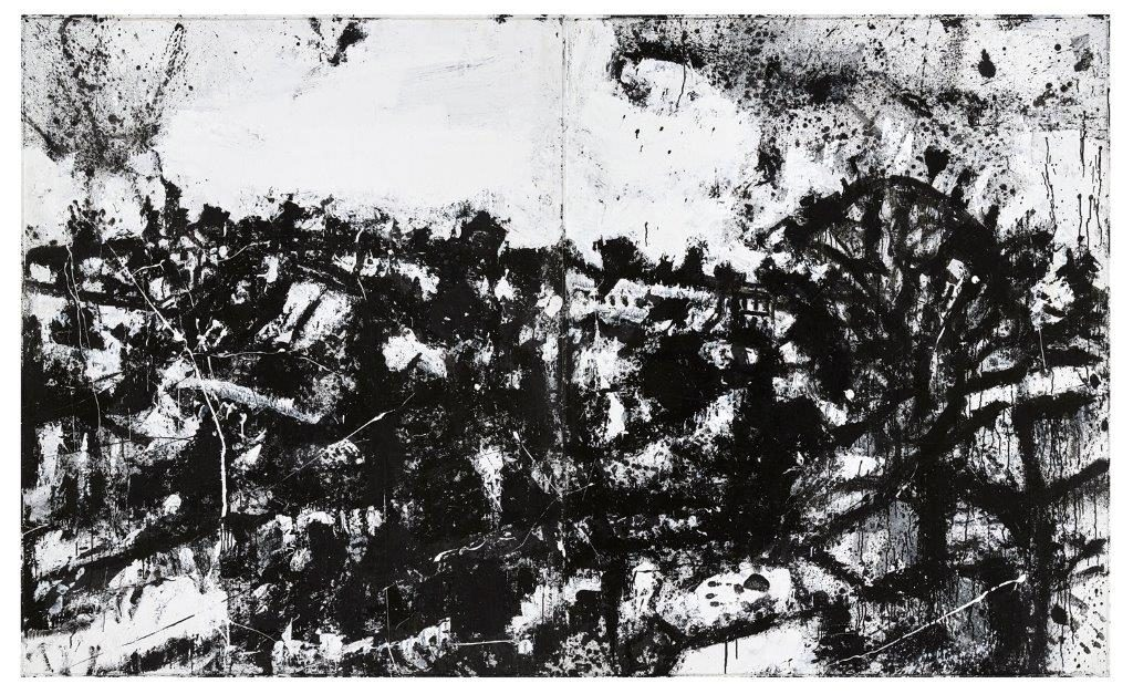 John Virtue, Landscape No.174 (1990 - 1992), acrylic, emulsion, charcoal, gouache, pencil, black ink, shellac on board. 181 x 298cm, Courtesy of Albion Barn