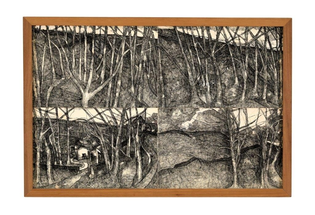 John Virtue, Landscape No.43 (1986-87), black ink, shellac, gouache on paper, laid on board, 147 x 220 cm, Courtesy of Albion Barn