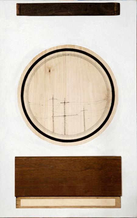 Jonathan Goldman- Untitled - 2013- Ink-marker-oil and wood- 64-40 cm