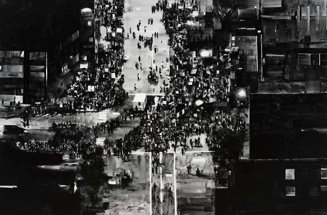 Joy Gerrard, Protest Crowd, Chicago, USA, Trump Rally (2016), 2017 Japanese ink on linen, 195 x 300 cm