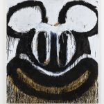 Joyce Pensato, Black and White Mickey, 2018 Oil on canvas © Joyce Pensato; Courtesy Lisson Gallery