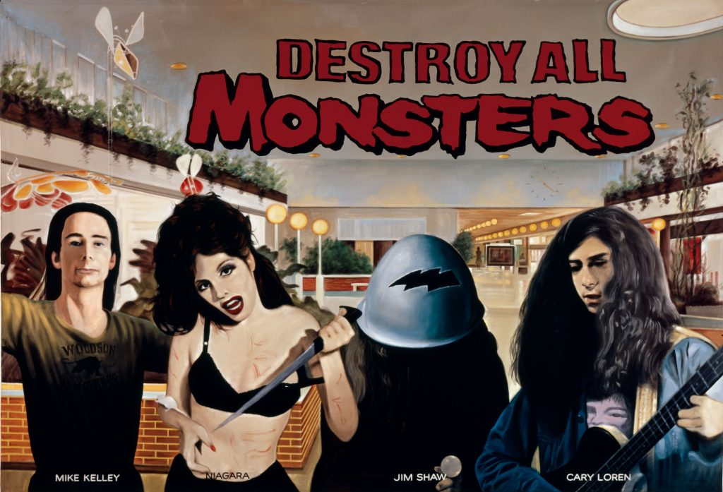 The Destroy All Monsters Collective (Mike Kelley, Cary Loren, Jim Shaw), Mall Culture, 2000 Acrylic on canvas 243.8 x 350.5 cm / 96 x 138 in 1 of 4 murals that comprise the installation, Strange Früt: Rock Apocrypha, 2000?Photo: Fredrik Nilsen