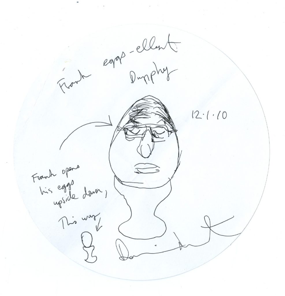 Damien Hirst ?frank eggs-ellent dunphy ?signed, titled, inscribed Frank opens his eggs upside down, this way and that
