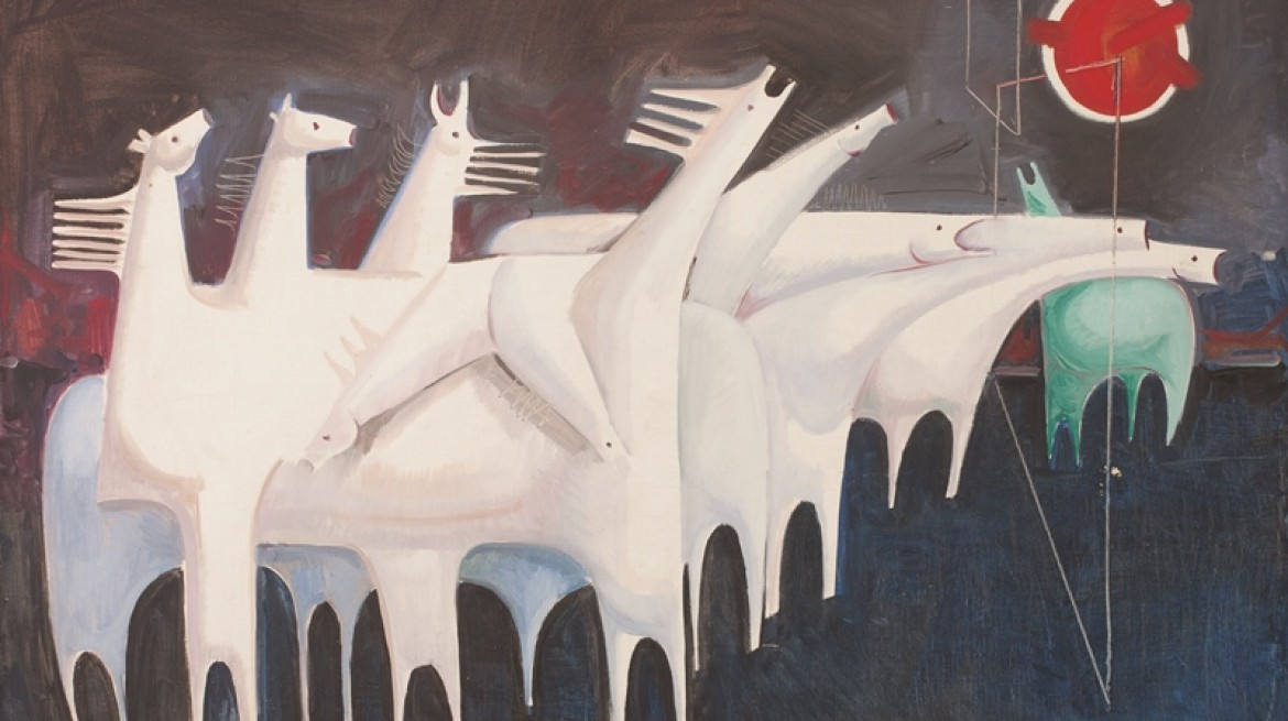 Kadhim-Hayder-Fatigued-Ten-Horses-Converse-with-Nothing-1965-Oil-on-canvas-1170x655