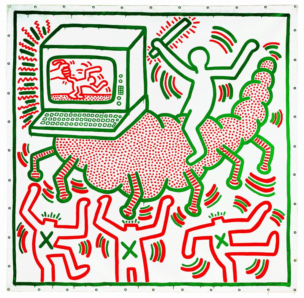 Keith Haring, 1958–1990 Untitled 1983 Vinyl paint on tarpaulin 3068 x 3020 mm Collection of KAWS