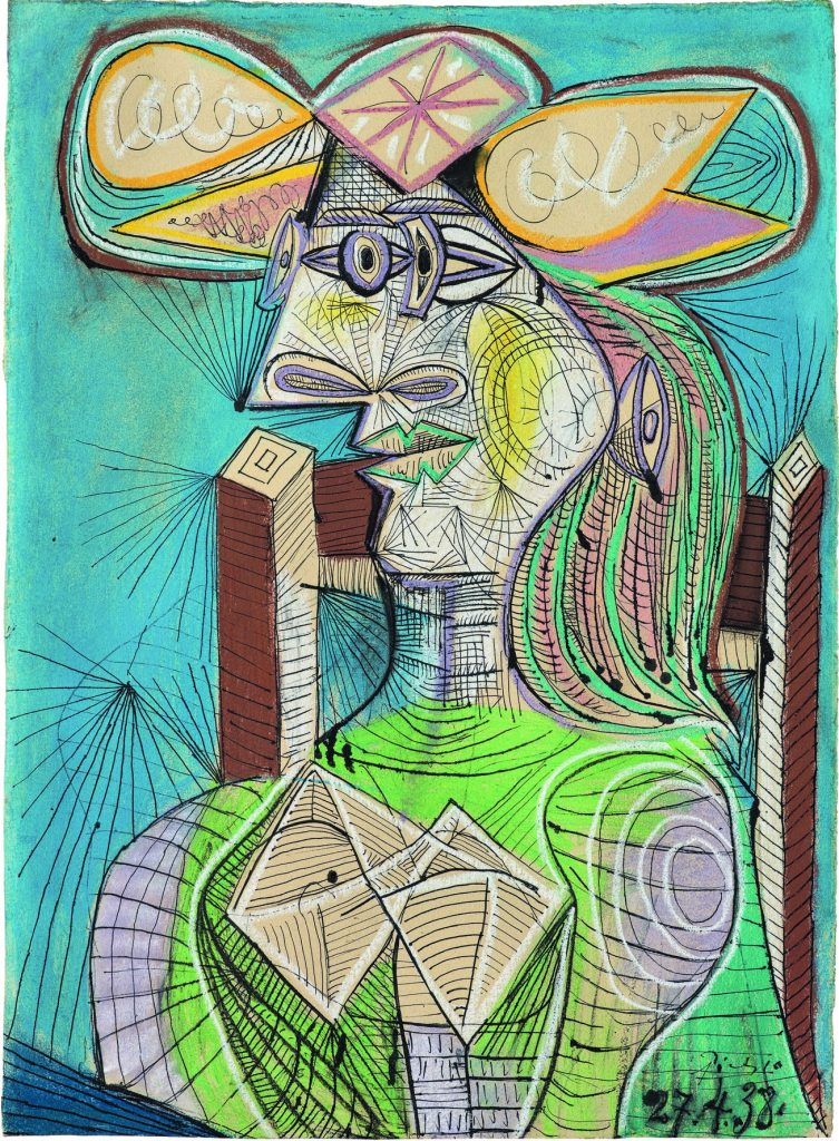 Pablo Picasso, Seated Woman (Dora), 1938?Ink, gouache and coloured chalk on paper, 76.5 x 56 cm?Fondation Beyeler, Riehen/Basel, Beyeler Collection?Photo: Peter Schibli ?© Succession Picasso/DACS 2019