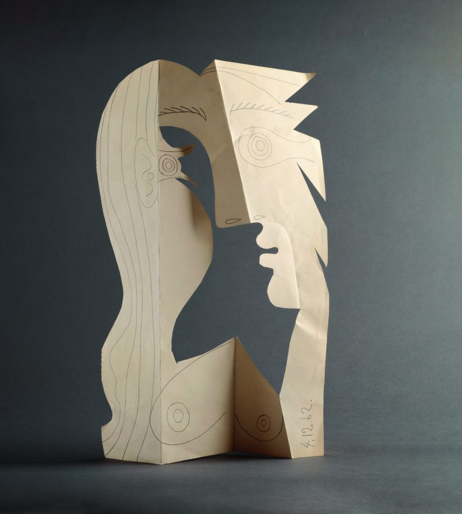 Pablo Picasso, Head of a Woman, Mougins, 4 December 1962 Pencil on cut and folded wove paper, 42 x 26.5 cm Musée national Picasso-Paris. Pablo Picasso Gift in Lieu, 1979. MP1850 Photo © RMN-Grand Palais (Musée national Picasso-Paris) / Béatrice Hatala © Succession Picasso/DACS 2019