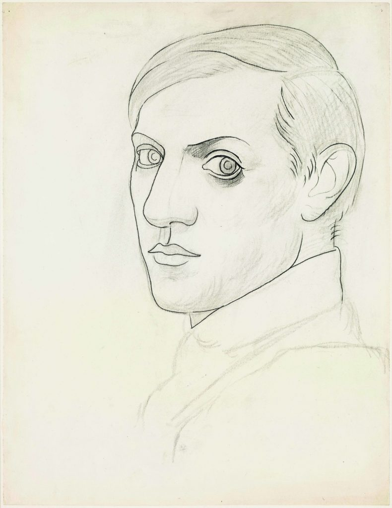 Pablo Picasso, Self-portrait, 1918 ?Pencil and charcoal on wove paper, 64.2 x 49.4 cm?Musée national Picasso-Paris. Pablo Picasso gift in lieu, 1979. MP794?Photo © RMN-Grand Palais (Musée national Picasso-Paris) / Mathieu Rabeau ?© Succession Picasso/DACS 2019