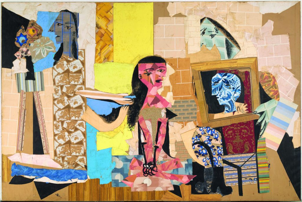 Pablo Picasso, Femmes à leur toilette, Paris, winter 1937–38 Collage of cut-out wallpapers with gouache on paper pasted onto canvas, 299 x 448 cm Musée national Picasso-Paris. Pablo Picasso Gift in Lieu, 1979. MP176 Photo © RMN-Grand Palais (Musée national Picasso-Paris) / Adrien Didierjean © Succession Picasso/DACS 2019Pablo Picasso, Femmes à leur toilette, Paris, winter 1937–38 Collage of cut-out wallpapers with gouache on paper pasted onto canvas, 299 x 448 cm Musée national Picasso-Paris. Pablo Picasso Gift in Lieu, 1979. MP176 Photo © RMN-Grand Palais (Musée national Picasso-Paris) / Adrien Didierjean © Succession Picasso/DACS 2019