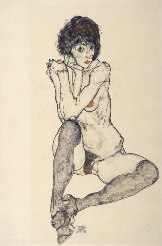 Klimt/Schiele: Drawings from the Albertina Museum, Vienna  Egon Schiele, Seated Female Nude, Elbows Resting on Right Knee, 1914  Pencil, gouache on Japan paper, 48 x 32 cm  The Albertina Museum, Vienna