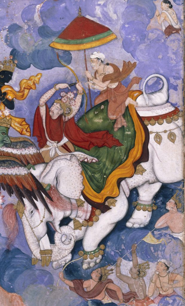 Krishna and Indra', about 1590, Lahore, watercolour painting and gold on paper (c) Victoria and Albert Museum, London