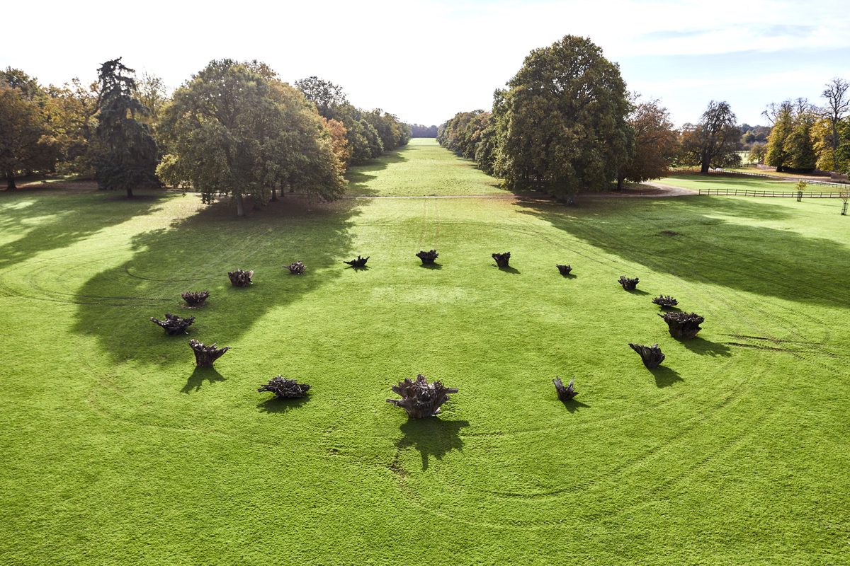 White Deer Circle, 2016 A 'henge' of tree stumps from the Houghton estate FAD Magazine