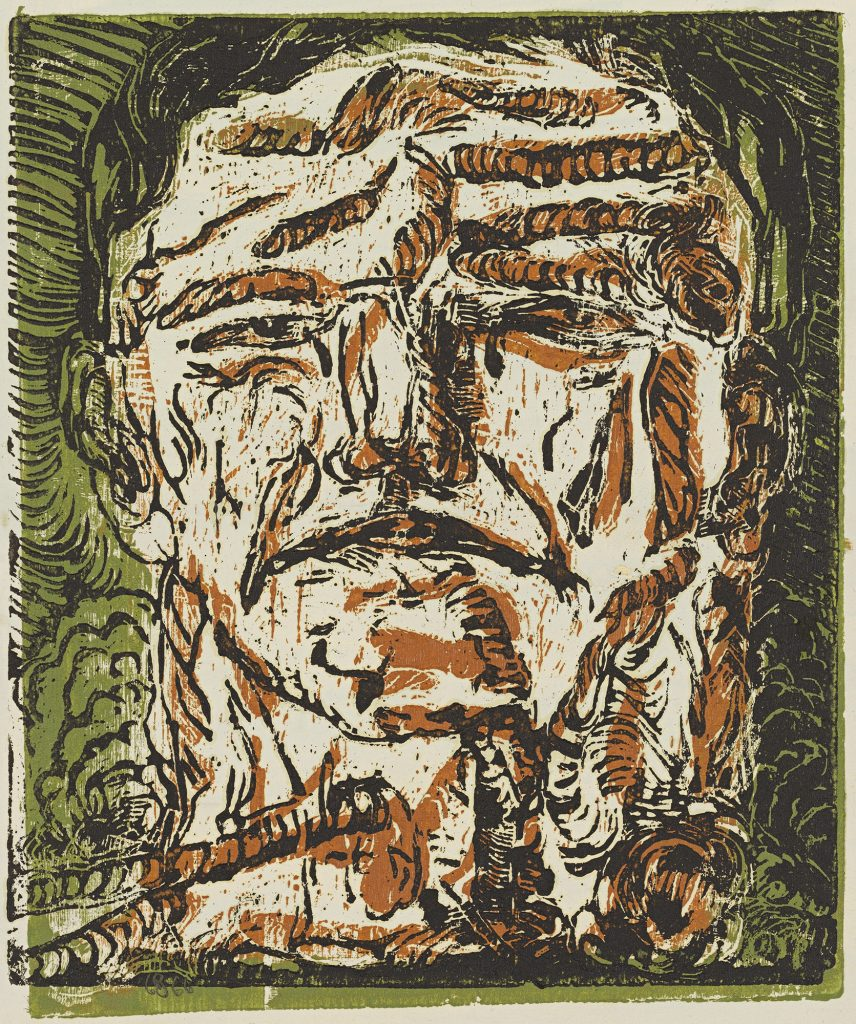 Georg BaselitzGroßer Kopf (Large Head), 1966Chiaroscuro woodcut, printed from two blocks, in black over brown and green,on primed paper47.6 x 40.3 cmPrivately owned© Georg BaselitzPhoto: Jochen Littkemann, Berlin