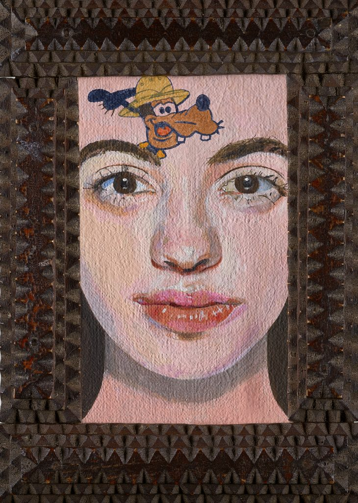 Late Period.' Girl with a Disney Tattoo' 3, 2020, oil on wooden panel Peter Blake