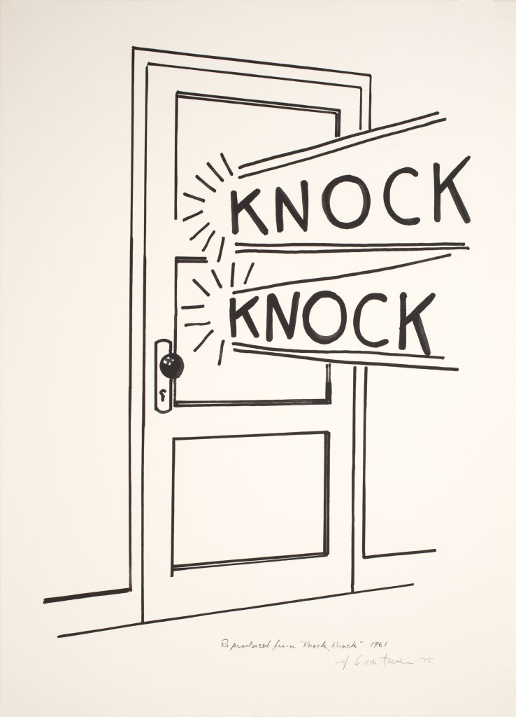 Roy Lichtenstein, Knock, Knock Poster, 1975 Line-cut, in black, on Arches paper, 65.4 x 47.6cm © Estate of Roy Lichtenstein/DACS/Artimage 2018