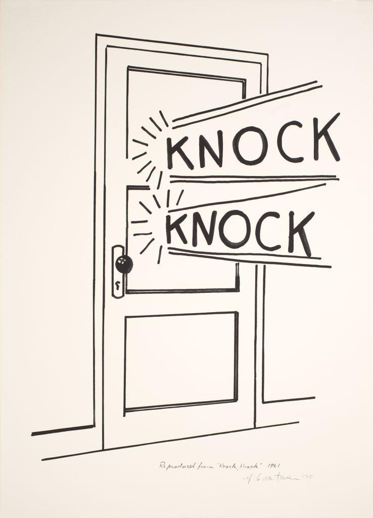 Roy Lichtenstein, Knock, Knock Poster, 1975 Line-cut, in black, on Arches paper, 65.4 x 47.6cm © Estate of Roy Lichtenstein/DACS/Artimage 2018