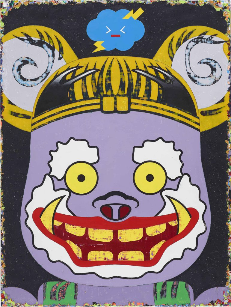 START art Fair Lau Chiu-Chen 'The Raijin Rolls The Thunders Till His Face Turns Purple' (2014-15), acrylic on canvas, courtesy Lin & Lin Gallery