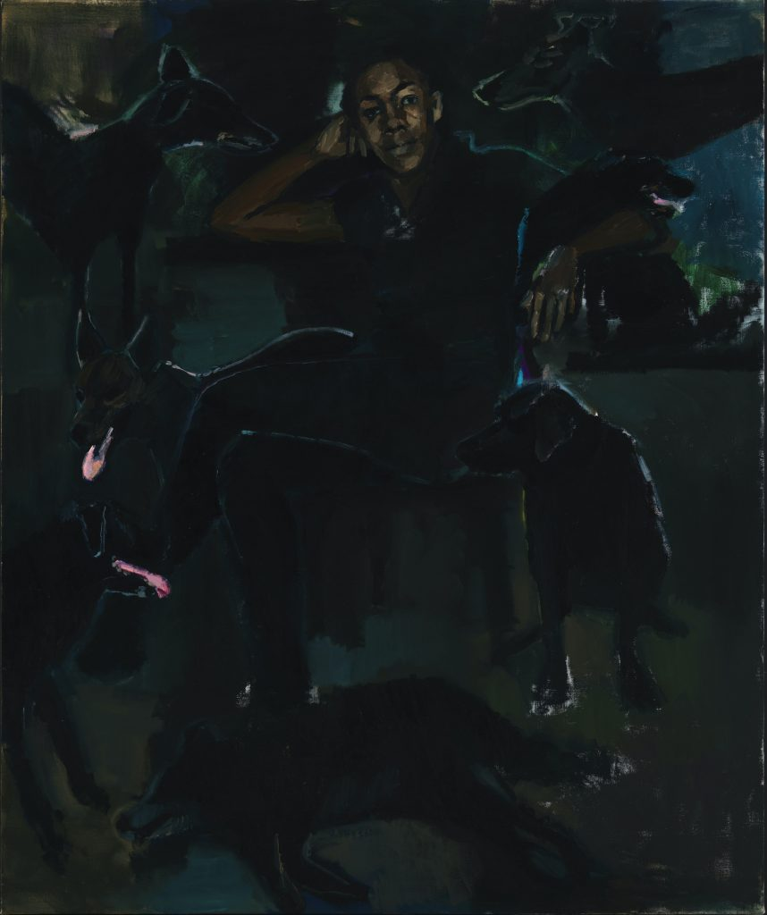 Lynette Yiadom-Boakye The Stygian Silk 2019Oil on linen1800 x 1500 mm Courtesy the Artist, Corvi-Mora, London, and Jack Shainman Gallery, New York. Photo: Marcus Leith