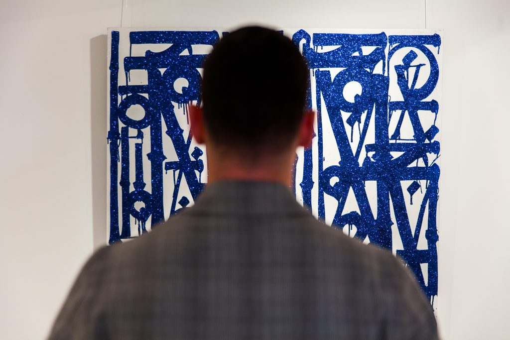 FAD MAGAZINE Retna'sLos Ne El Barrio; an abstract lettered painting finished with a rare blue diamond dust