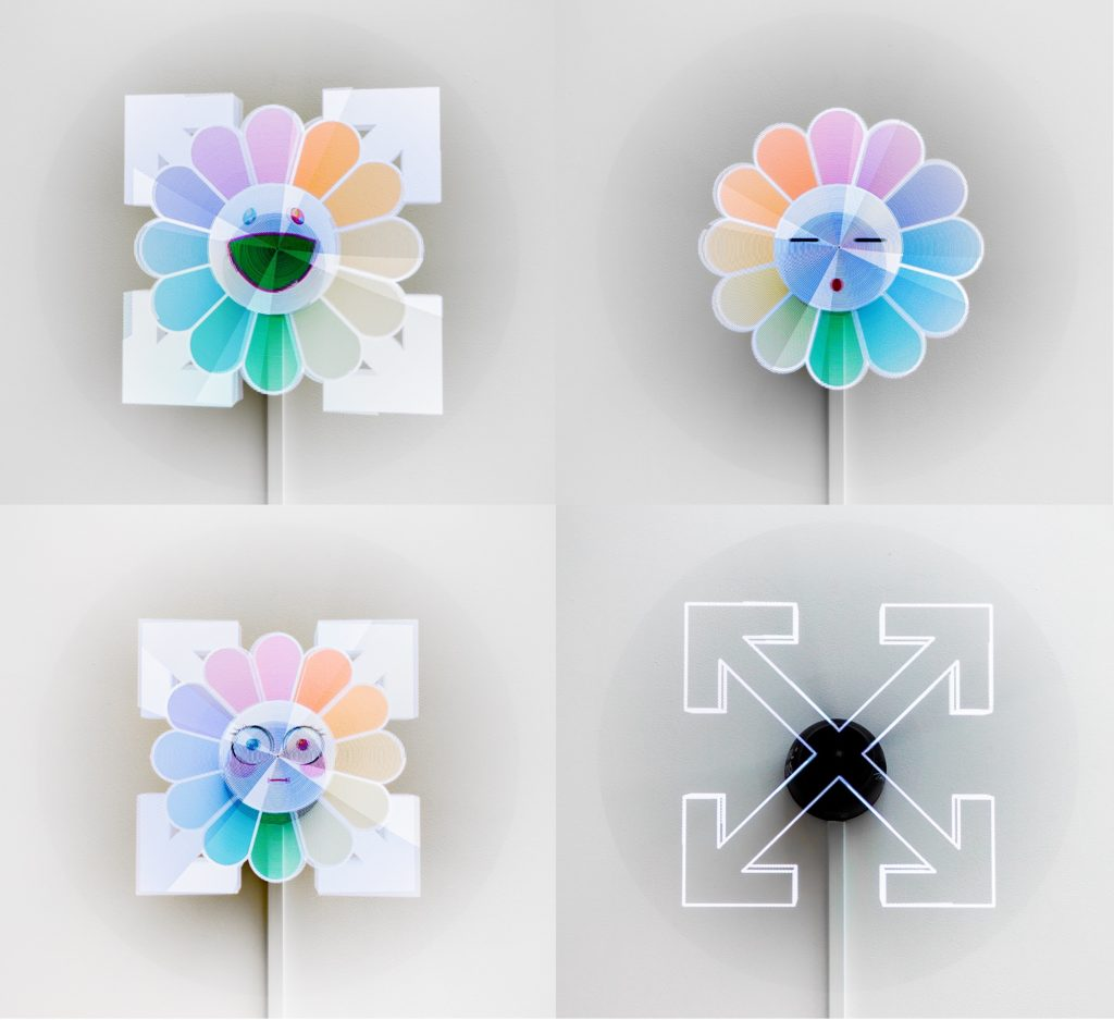 Virgil Abloh x Takashi Murakami Illusion, Arrows and Flower (2018) LED holographic effect monitor 60 x 60 x 19 cm Courtesy of Gagosian FAD magazine