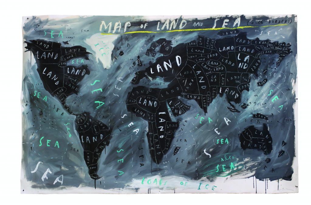 Map of Land and Sea with Borders-2018-oil and oil stick on paper-Oliver Jeffers-courtest of Lazinc and artist