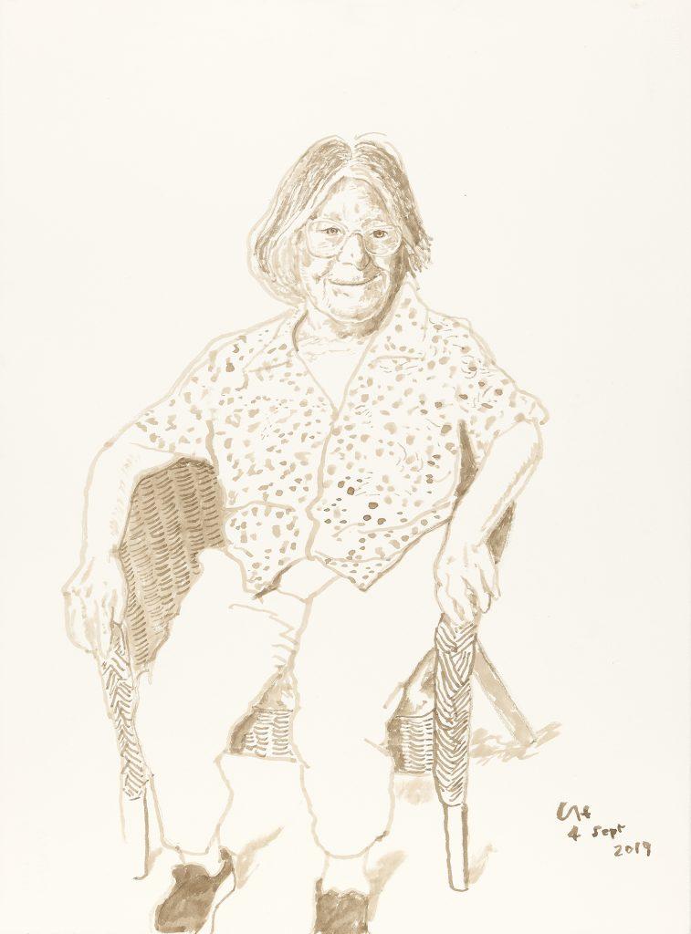 David Hockney, Margaret Hockney, 4 Sept 2019. Ink on paper. 76.8 x 57.5 cm © David Hockney Photo Credit: Richard Schmidt FAD MAGAZINE