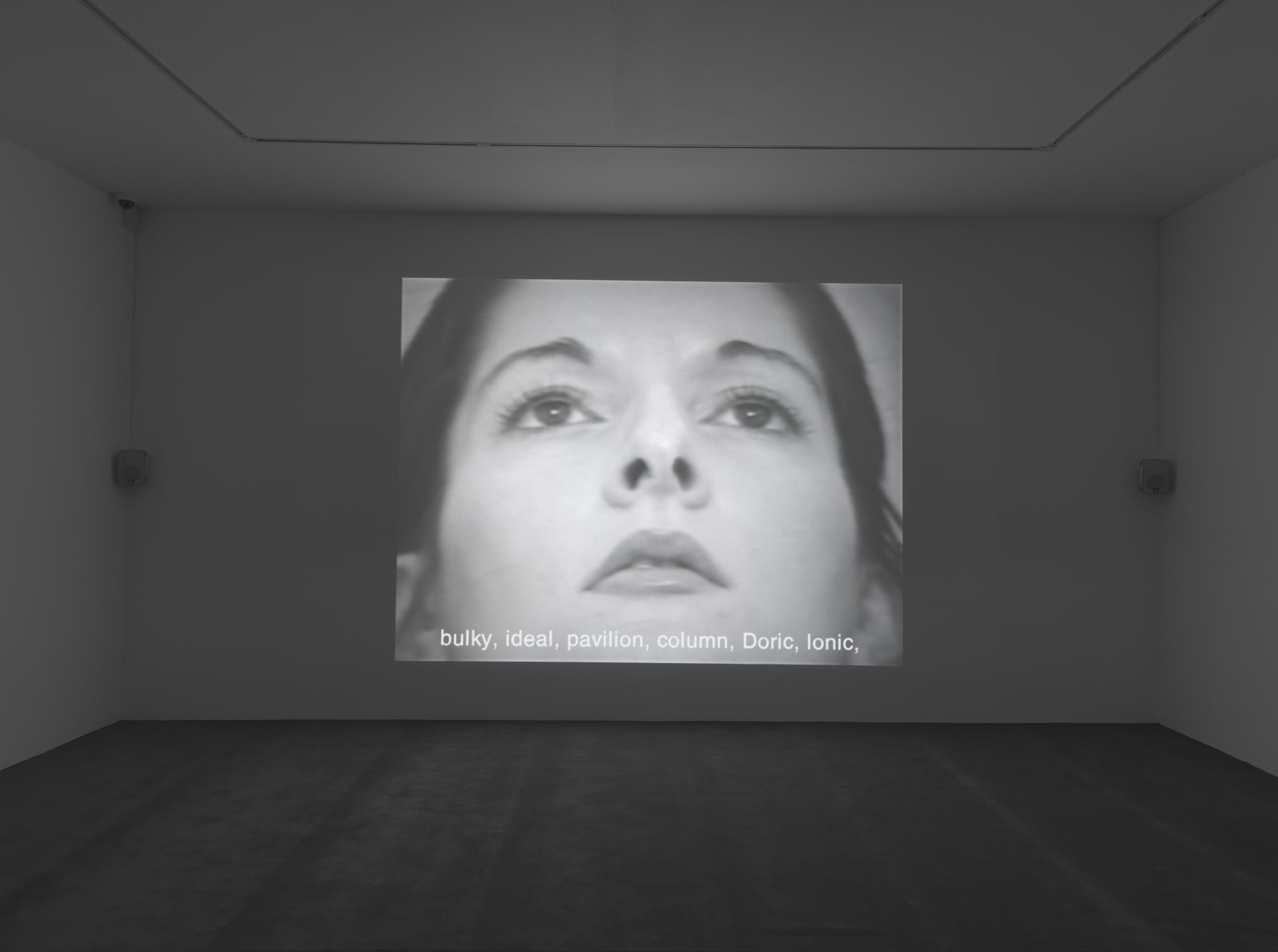 Marina Abramovic Freeing the Memory, 1975 (performance) 1 Single channel video artwork, black and white with sound. Footage from the 1.5 hour performance in 1975, at the Daci_ Gallery, Tu_bingen 12745.7 cm loop 50:18 (loop