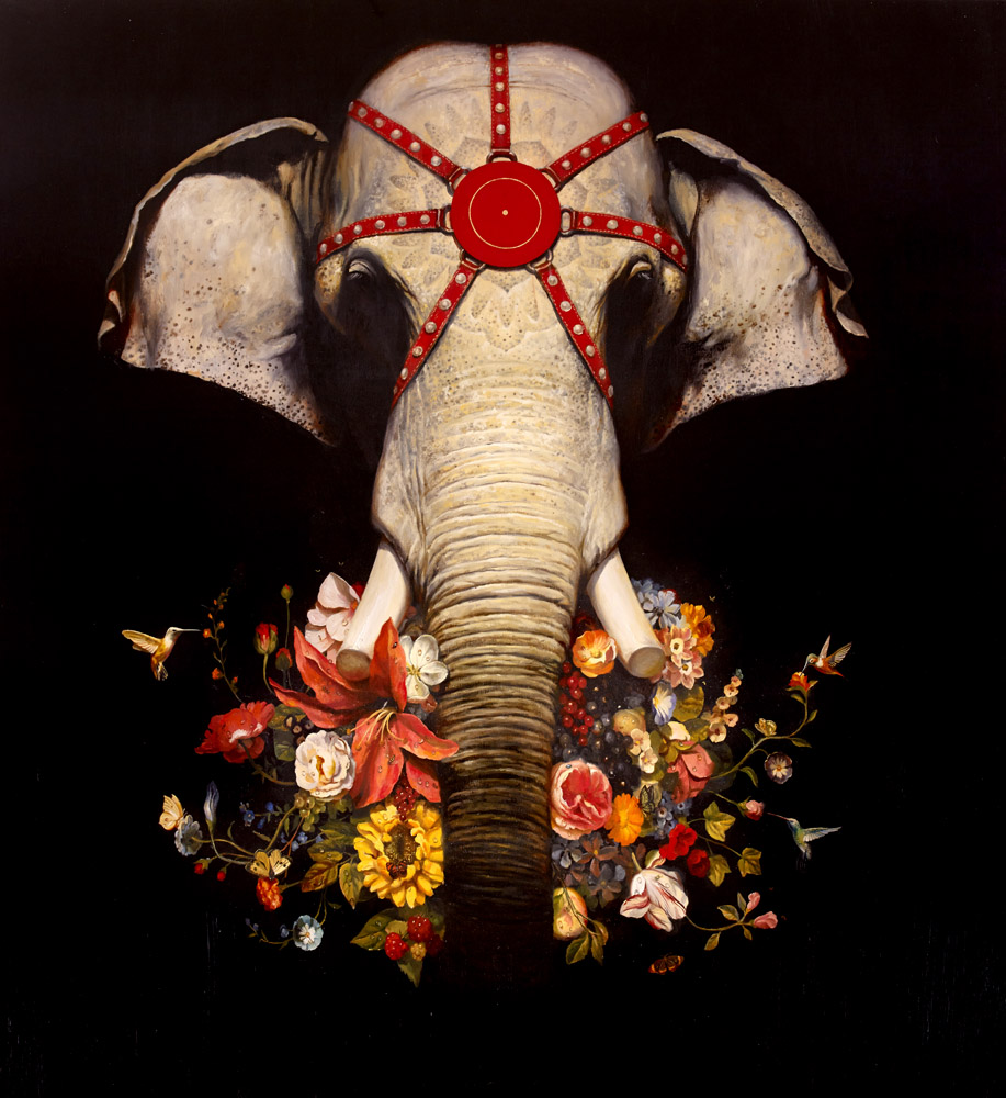 Martin Wittfooth, Incantation (central panel of a collaborative triptych with artist Jean Labourdette), 2014, oil and gold leaf on canvas, 75 x 69 inches