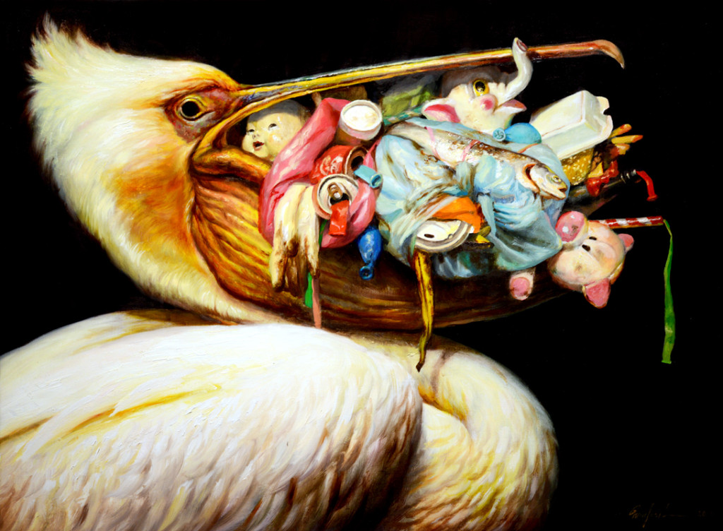Martin Wittfooth, Loot Bag, 2013, oil on canvas, 18 x 24 inches