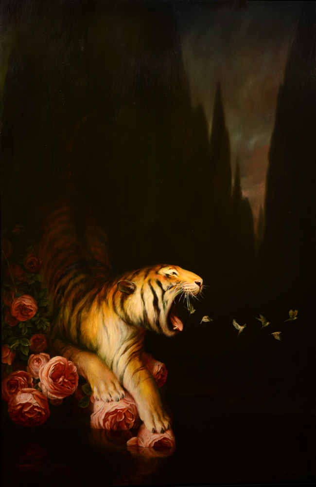 Martin Wittfooth, Nocturne, 2013, oil on linen, 72 x 48 inches